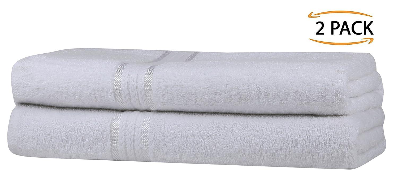 SweetNeedle Super Soft 2 Pack Toallas de baño extragrandes 70x140 Blanco, 580 GSM - 100% Pure Ringspun de algodón - Borde de rayón de lujo - Ideal para uso ...