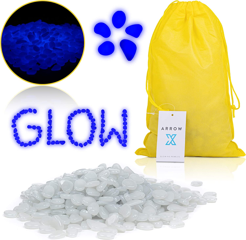 Premium Glow in The Dark Rocks | 485 Pcs | Bright Blue Luminosity | Garden Decor | Aquarium Rocks | Pebbles |