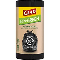 Glad to be Green 95% Recycled Wavetop Bin Liners, Small, 34 pack