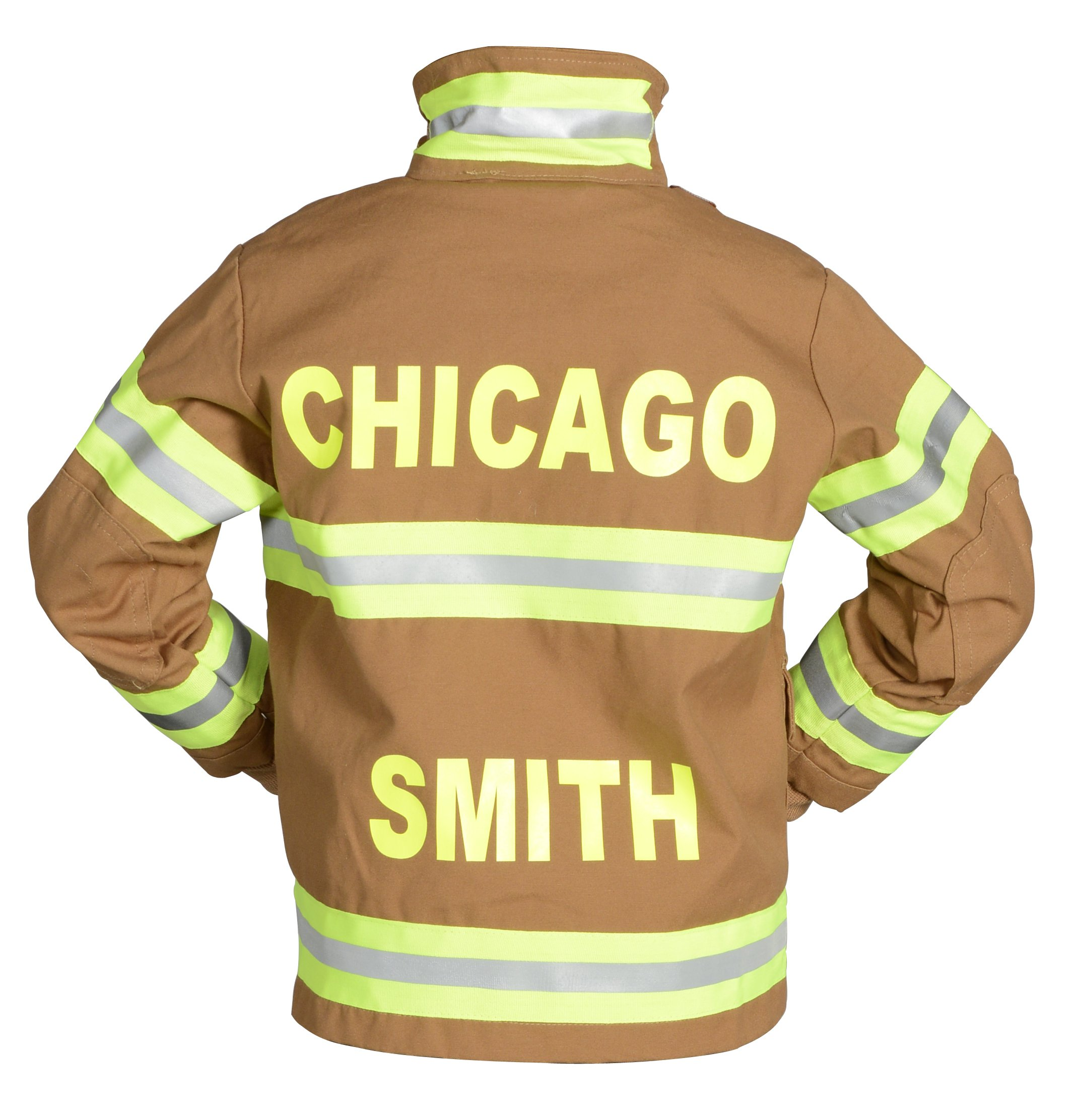 Aeromax PERSONALIZED Jr. Firefighter Suit / Bunker Gear, BLACK or TAN, available in multiple sizes (4/6, Tan) by Aeromax