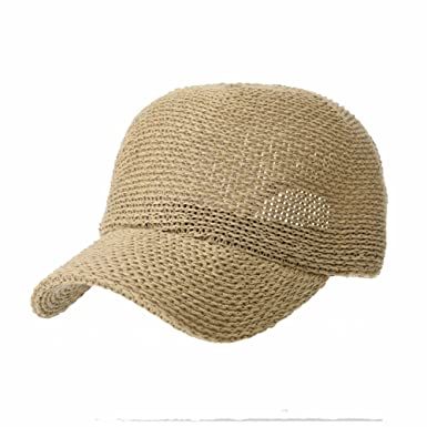 60011fe6767 WITHMOONS Baseballmütze Mützen Caps Kappe Baseball Cap Summer Paperstraw  Mesh for Men Women KR1960 (Beige)  Amazon.de  Bekleidung