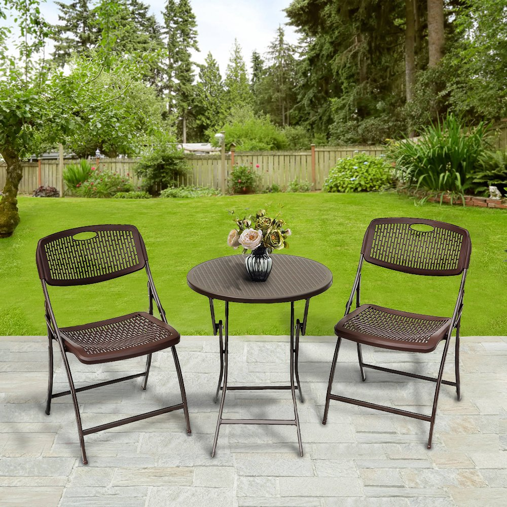 Le Papillon 3PC Bistro Set Folding Round Table And Chair Set Outdoor Furniture