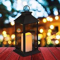 Relaxdays LED, kaars met vlameffect, geschikt voor buiten, decoratieve lantaarn hangend of staand, H: 30 cm, zwart, 30…