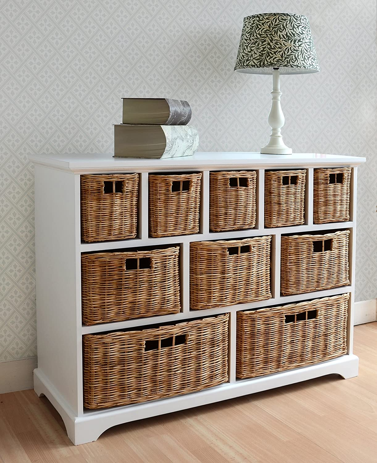 Tetbury white storage unit with 5 drawers bedroom furniture direct - Tetbury Wide Storage Chest Of Drawers With Wicker Baskets Very Solid Basket Storage Unit Generously Sized Fully Assembled Amazon Co Uk Kitchen Home