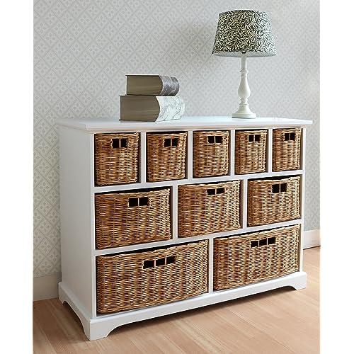 Tetbury Wide Storage Chest Of Drawers With Wicker Baskets. Very Solid Basket  Storage Unit.