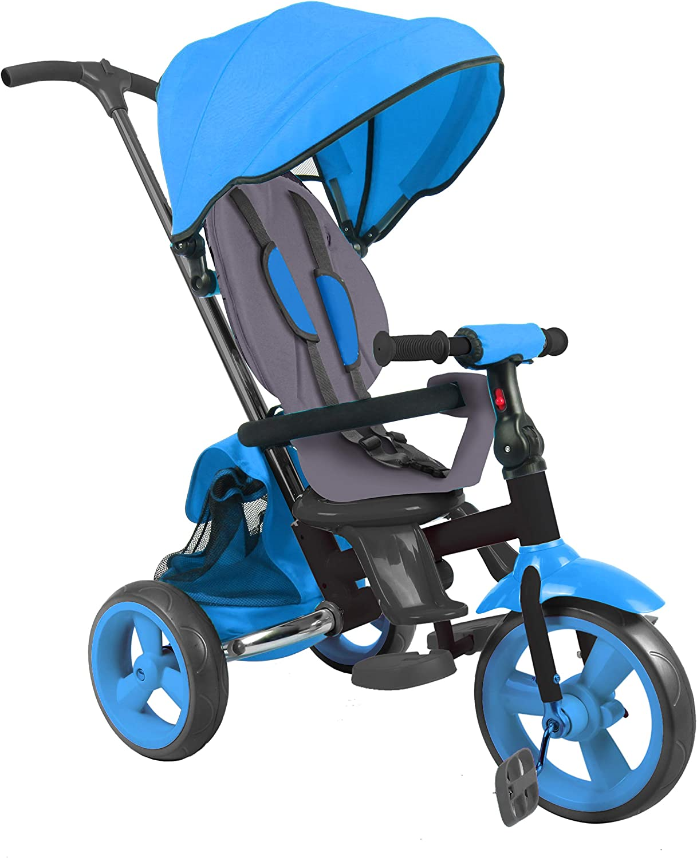 DV Baby Triciclo evolutivo Triciclo Plegable con Asiento Giratorio 360° - Triciclo para niños de 10 hasta 36 Meses – Color Azul