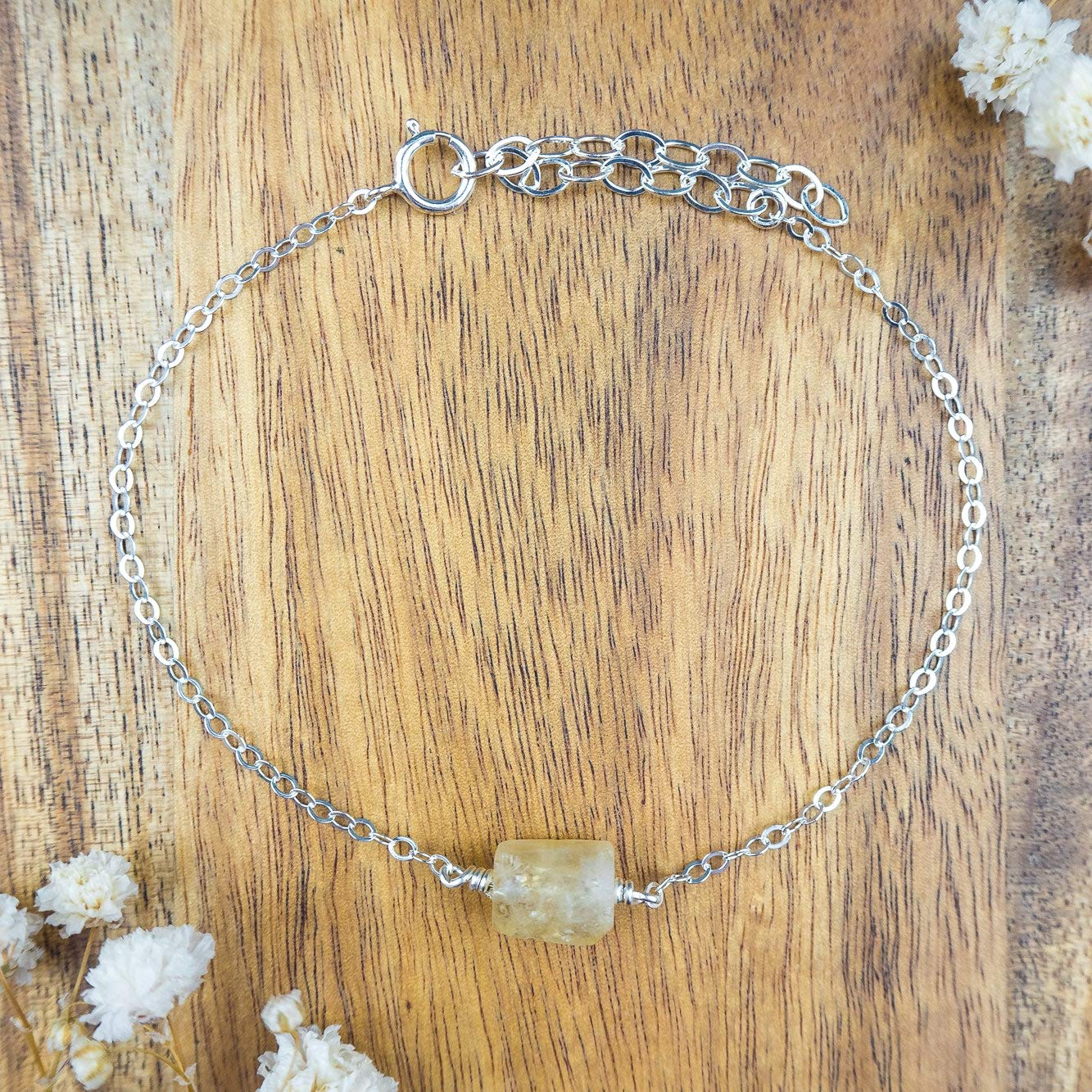 6 chain with 2 adjustable extender November birthstone Raw citrine crystal bracelet in 925 sterling silver