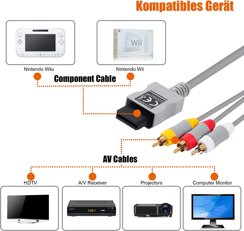 AMATHINGS TV Cable de conexión AV Se Adapta a Wii y Wii U e Interruptor de Entrada/Salida del Adaptador de euroconector + S-Video/S-VHS: Amazon.es: Electrónica