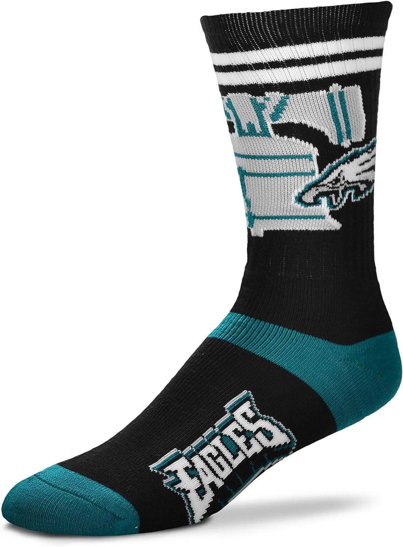Philadelphia Eagles For Bare Feet Landmark Flag State Mens Crew Socks Large