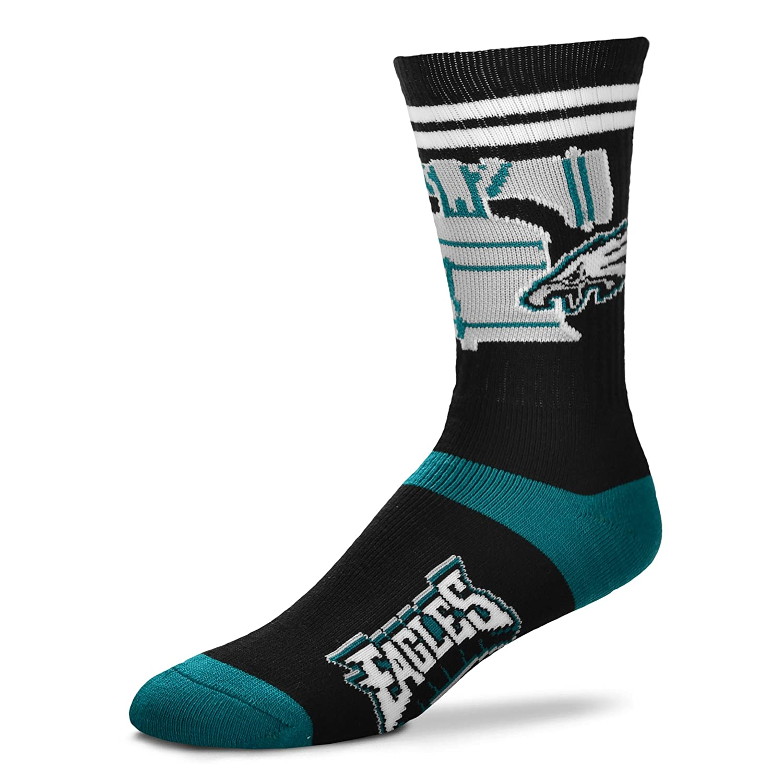 Philadelphia Eagles For Bare Feet Landmark Stripe Mens Crew Socks