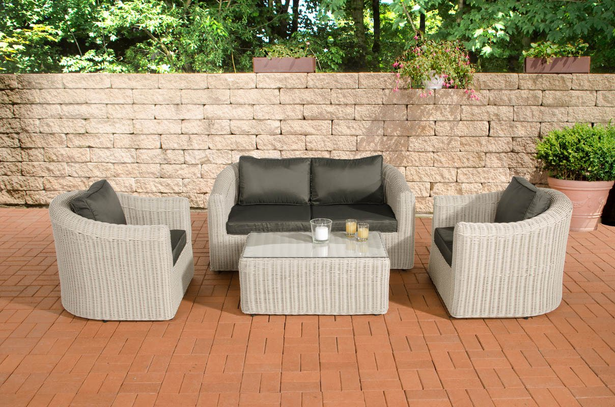 clp poly rattan gartenm bel lounge set bergen alu gestell 4 sitzpl tze 2 1 1 5 mm rund. Black Bedroom Furniture Sets. Home Design Ideas