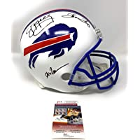 $309 » Jim Kelly Andre Reed Thurman Thomas Buffalo Bills TRIPLE Signed Autograph Throwback White Full Size Helmet JSA Witnessed Certified