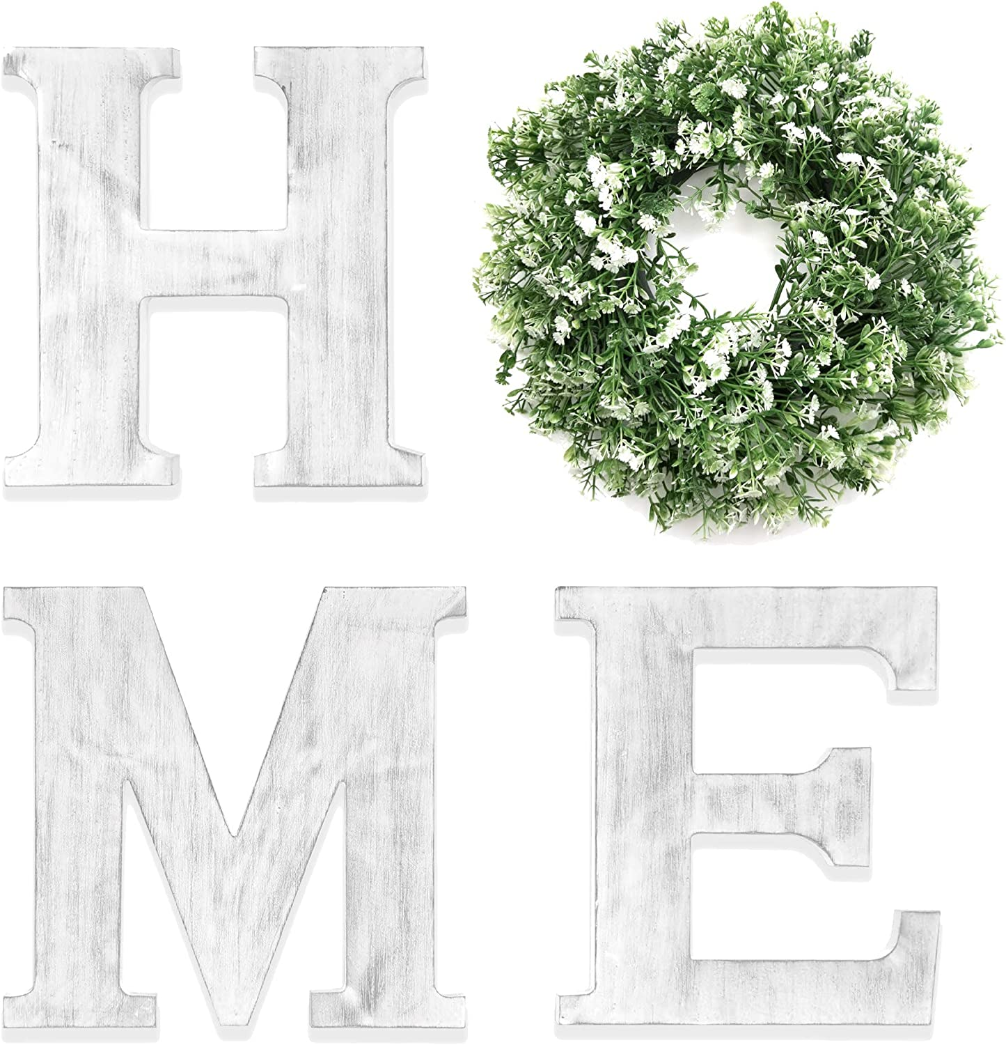 HnJOY White Rustic Home Sign for Living Room - Decorative Wreaths for Home - Wooden Letters Wall Decor with Artificial Eucalyptus - Farmhouse Family Sign with Wreath