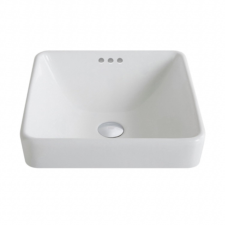 Recessed bathroom sink - Kraus Kcr 281 Modern Elavo Ceramic Square Semi Recessed Bathroom Sink With Overflow White Amazon Com