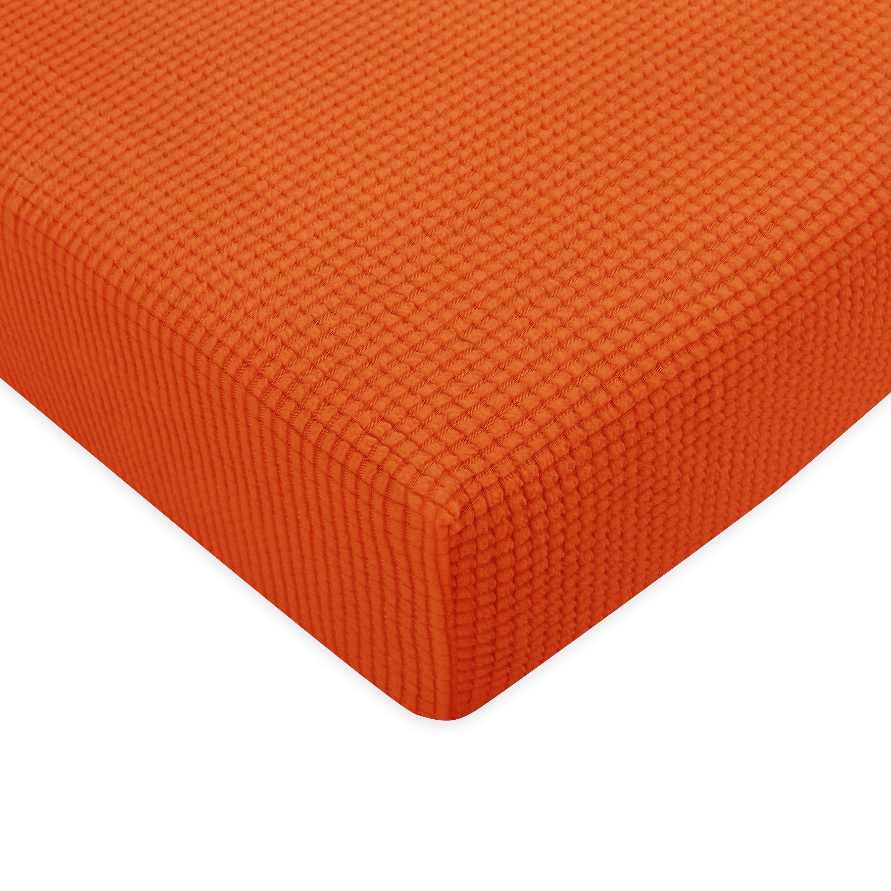 Subrtex Stretch Spandex Protector Slipcover (Sofa Cushion, Orange)