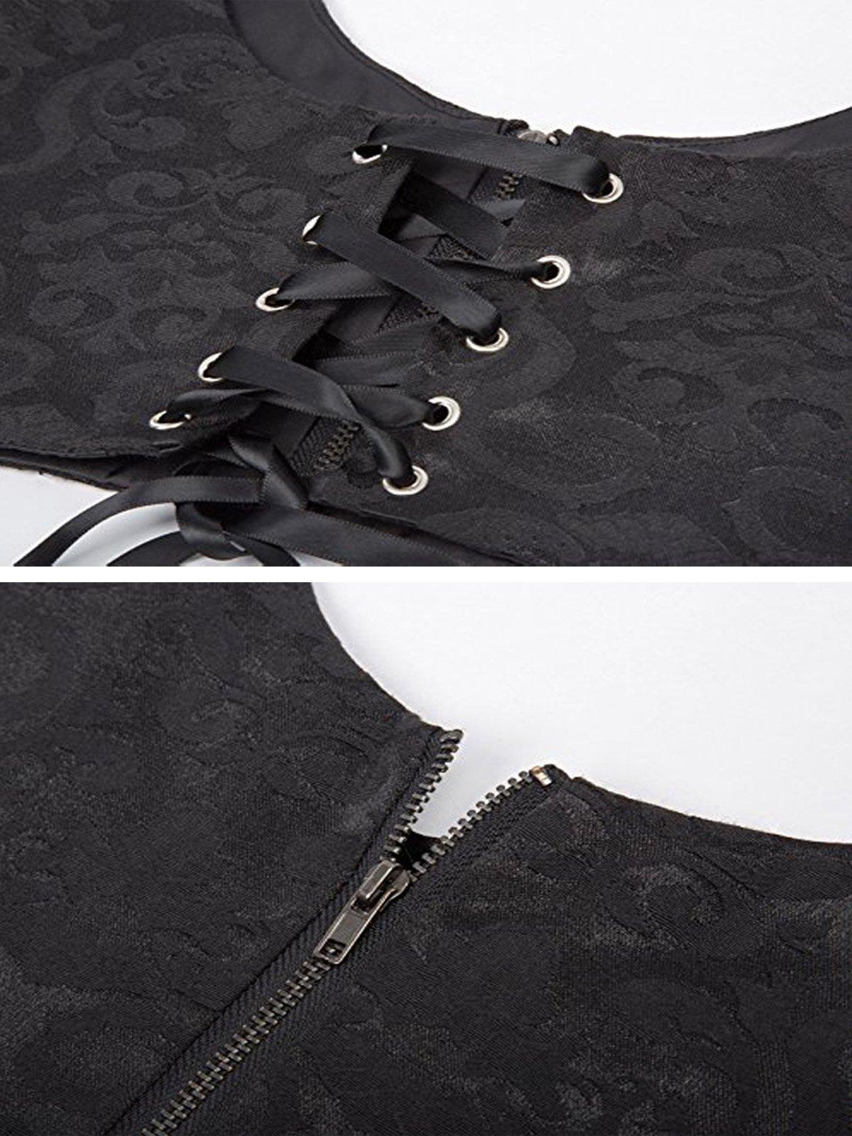 Elastic Wide Waist Lace-Up Belt Tied Corset Cinch Belt CL616-1 S Black