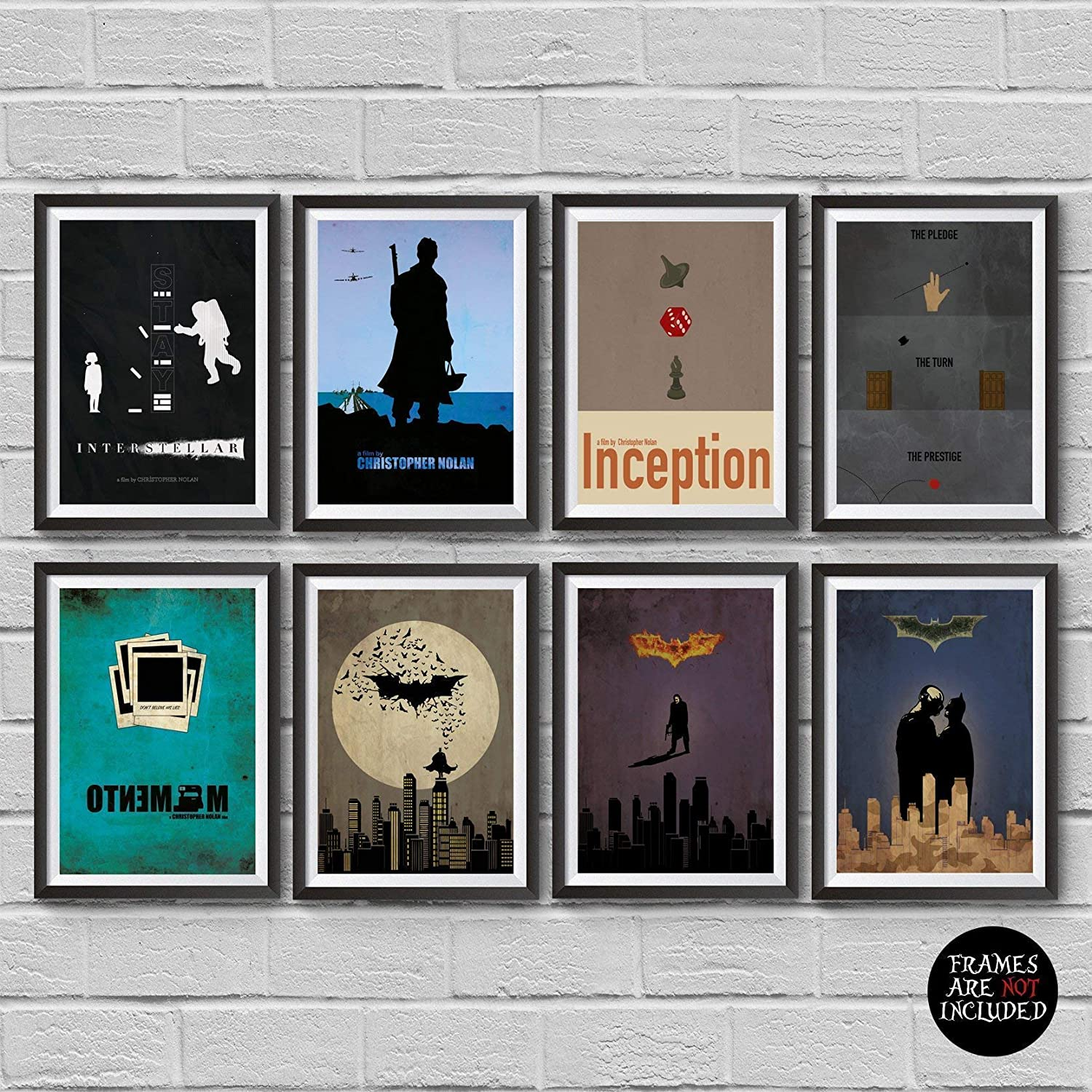 Christopher Nolan Minimalist Poster Set of 8 Films Interstellar Batman Begins The Dark Knight The Dark Knight Rises Inception The Prestige Dunkirk Memento Print Wall Artwork Home Decor Cool Gift