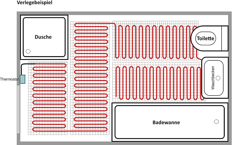 Thermostat MCS 400 Wlan, 1,3 m/² - 0,5 m x 2,6 m Elektrische Fu/ßbodenheizung BZ-100 Set mit Thermostat