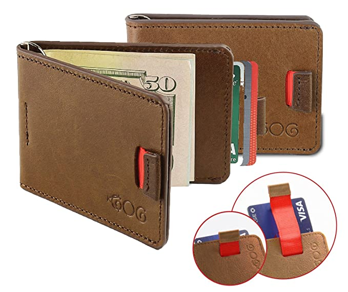 Agog Ultra Slim cartera para hombre con elegante diseño de pestaña y pinza para billetes Bill