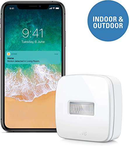 Eve Motion – Smart Wireless Motion Sensor with IPX 3 Water Resistance, get Notifications, Automatically Trigger Accessories and Scenes, no Bridge Necessary, Bluetooth Apple HomeKit
