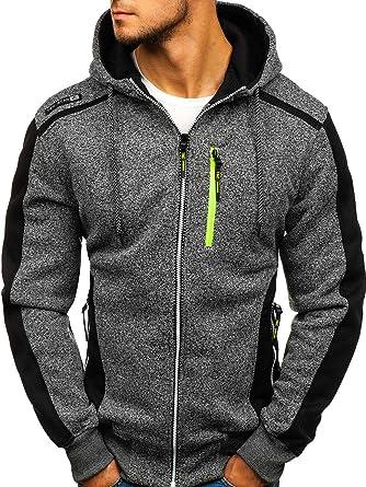BOLF Herren Kapuzenpullover Sweatshirt mit Reißverschluss Basic Sportlicher  Stil 1A1  Amazon.de  Bekleidung 8535e71d2e