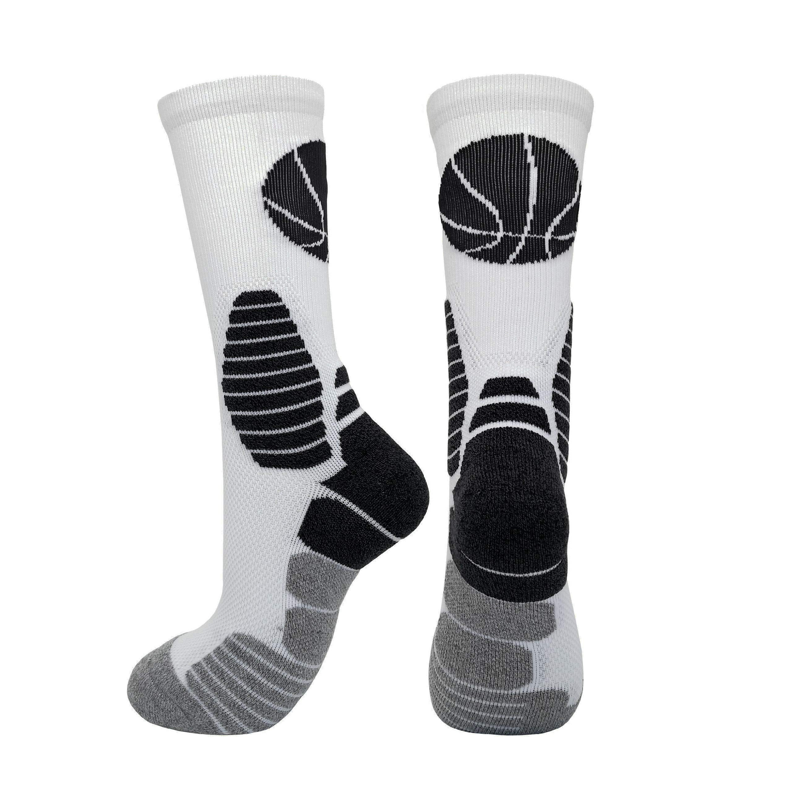 2 Pairs PK Elite Basketball Socks Dri-Fit Crew Sports Athletic Socks for Boy Girl Men Women (White/Grey X 2PK, L) by HIGHCAMP