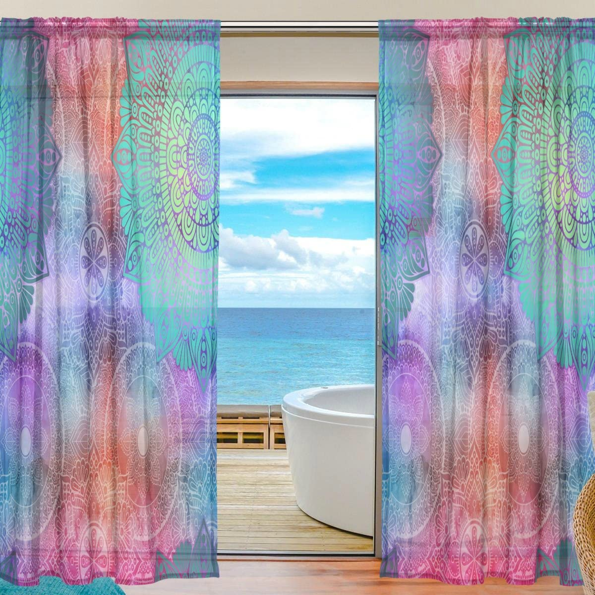 TropicalLife 2 Piece Color Ethnic Mandala Pattern Sheer Voile Window Curtain Panels 55 x 84 Inch Length for Bedroom Living Room Kids Room Kitchen Modern Panels Indoor Decoration