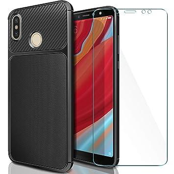 AROYI Funda Xiaomi Redmi S2 + Cristal Templado, Xiaomi Redmi S2 Carcasa & Protector de Pantalla 9H Dureza + Soft TPU Cover para Xiaomi Redmi S2 - ...