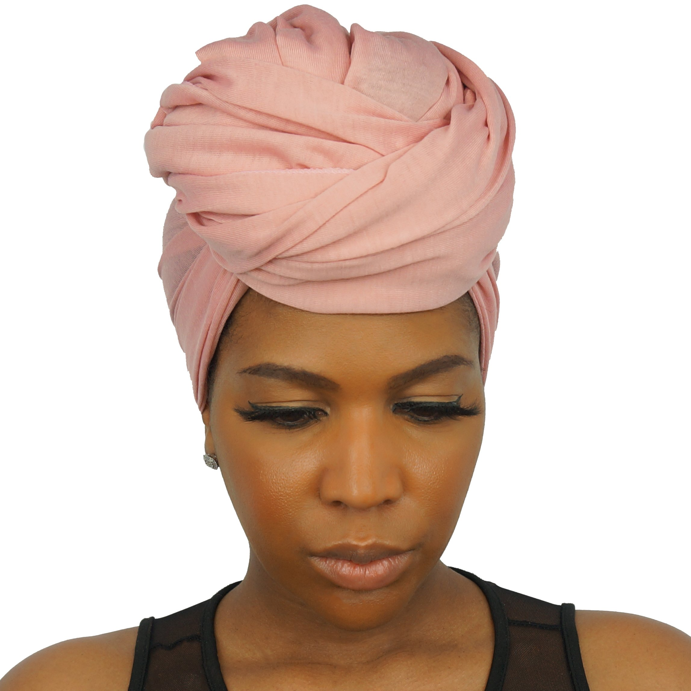 The Urban Turbanista Stretch Jersey Knit Head Wrap - Long Headwrap Scarf Tie by (70'' x 32'', Coral Pink) by The Urban Turbanista (Image #5)