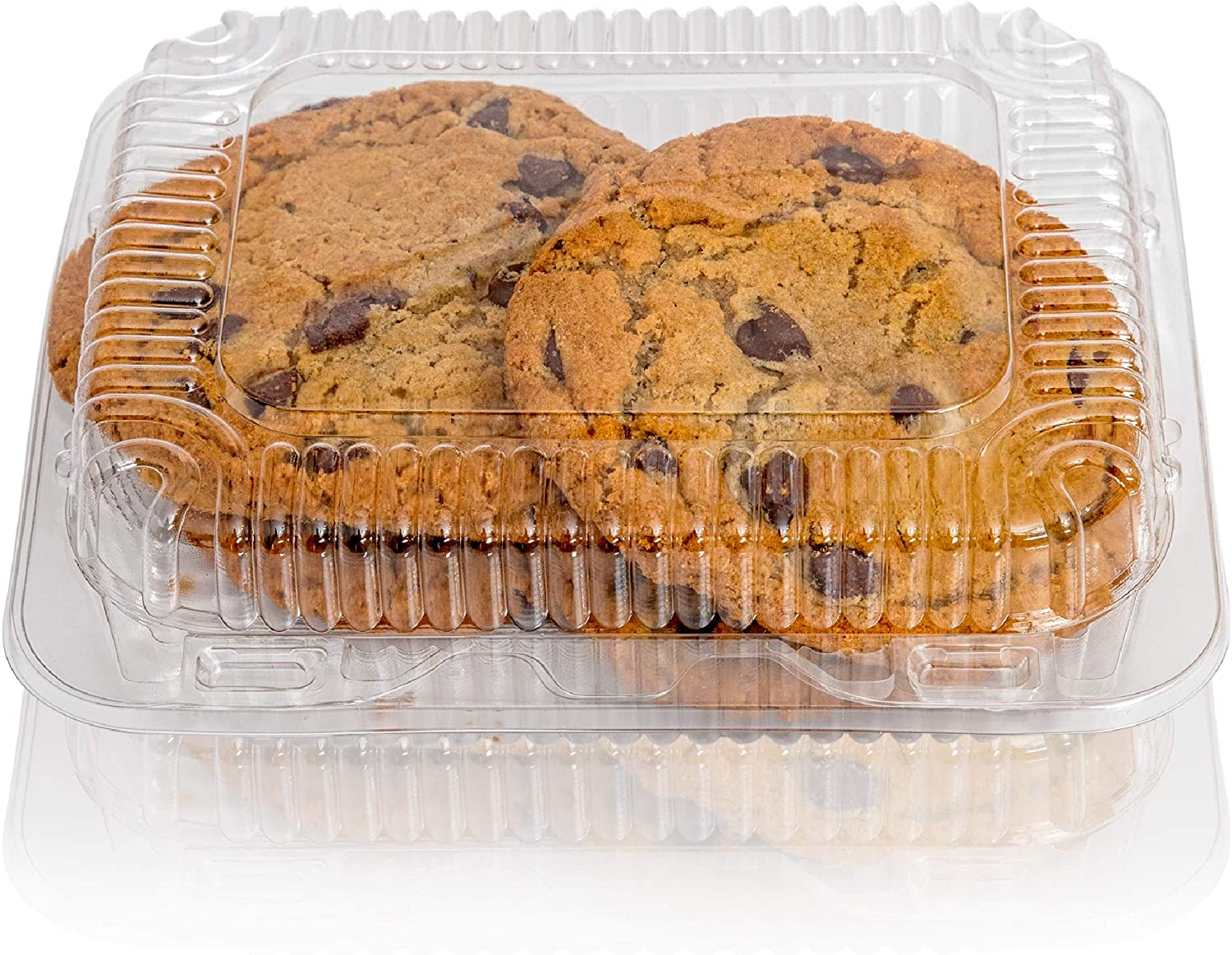 "Clear Plastic Hinged Food containers - Sturdy Disposable Bakery Lid Cookie Container Boxes - 7""x 6""x2"" (40)"
