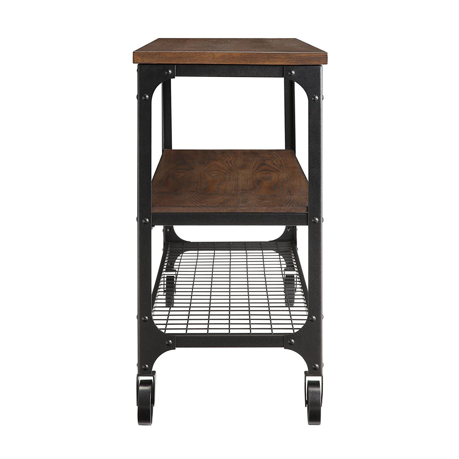 Amazon.com: ModHaus Living Modern Industrial Rustic Riveted Black Metal U0026  Wood TV Stand With Decorative Wheels   Includes (TM) Pen (48): Kitchen U0026  Dining