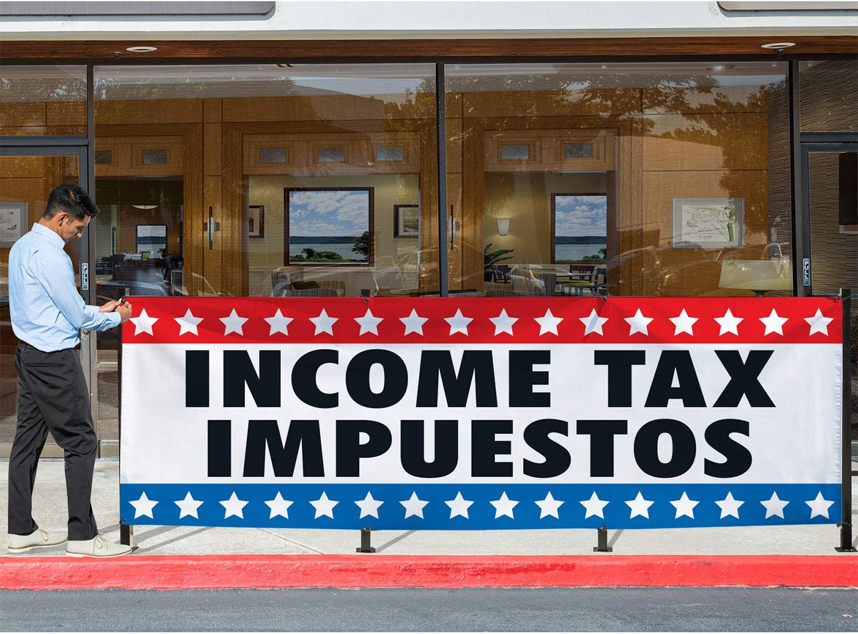 Easy Hang Sign-Made in USA Income Tax Impuestos Vinyl Banner-Indoor//Outdoor 4X8 Foot-Yellow HPB CUSTOM Includes Zip Ties