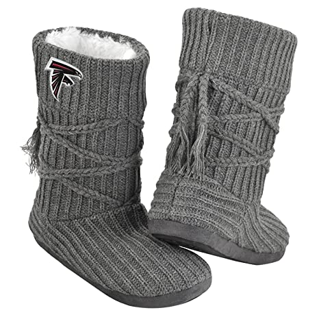 Amazon Nfl Ladies Knit High End Cable Tie Slippers Grey