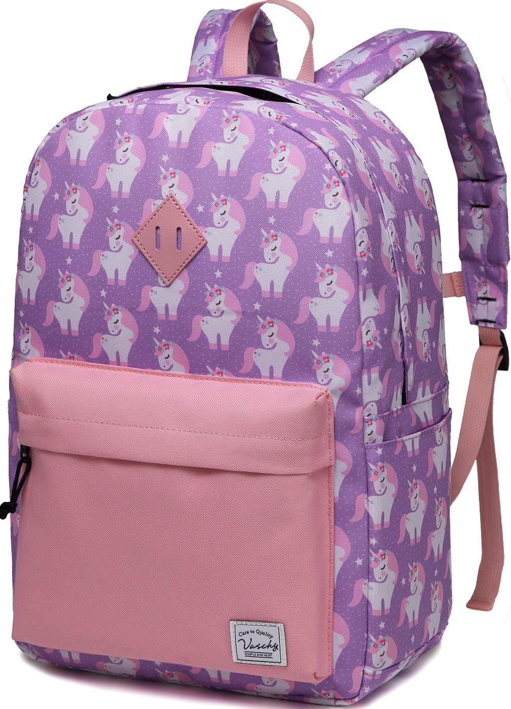 Backpack for Little Girls,Vaschy Preschool Backpacks for kindergarten with Chest Strap Large Pink Unicorn by VASCHY