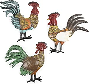 French Country Metal Rooster Trio for Barn Wall Decor (11.5 In, 3 Pack)