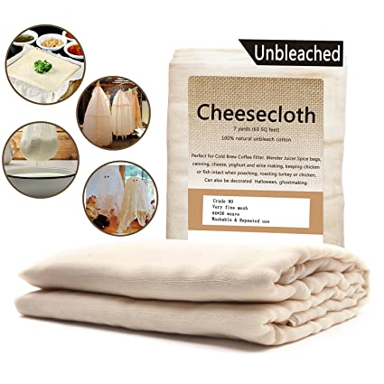 Cheesecloth / 63 pies cuadrados: grado 90 - 100% algodón sin blanquear - Reutilizable todos los usos colador de alimentos y filtro de café frío - bolsa de ...