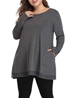 f661236bf5a Shiaili Women Plus Size Spring Shirt Graceful Lace Tunic Long Loose Fit Top