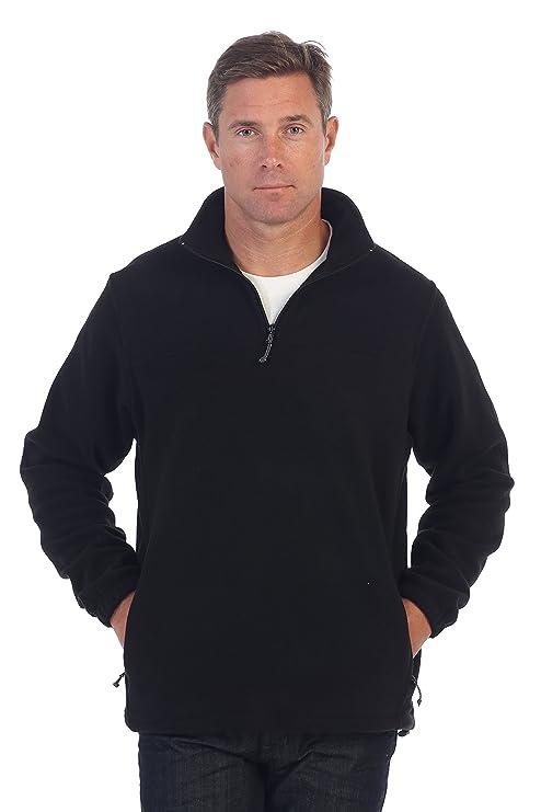Gioberti Mens Half Zip Polar Fleece Jacket, Black, XX-Large
