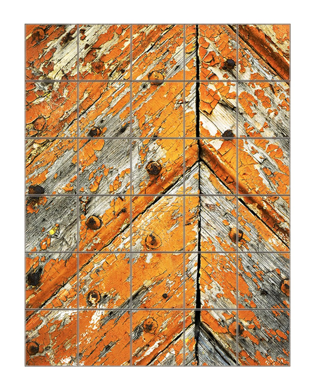 Old Peeled Paint On Wooden Doors Vertical Tile Mural Satin Finish 36''Hx30''W 6 Inch Tile