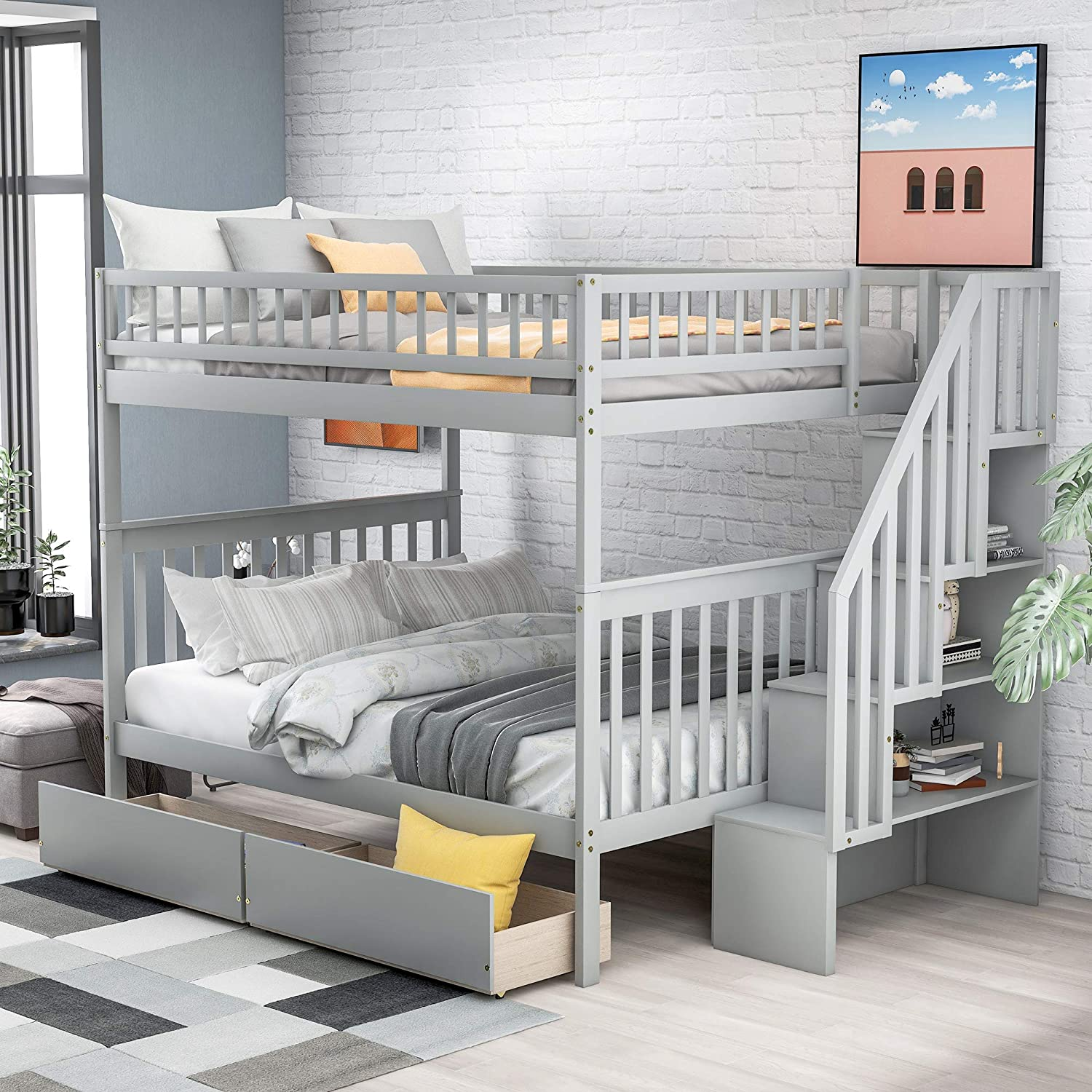 Amazon Com Lumisol Full Over Full Bunk Bed With 2 Drawers And Storage Space Saving Design Bedroom Furniture With Staircass No Box Spring Needed Grey Kitchen Dining