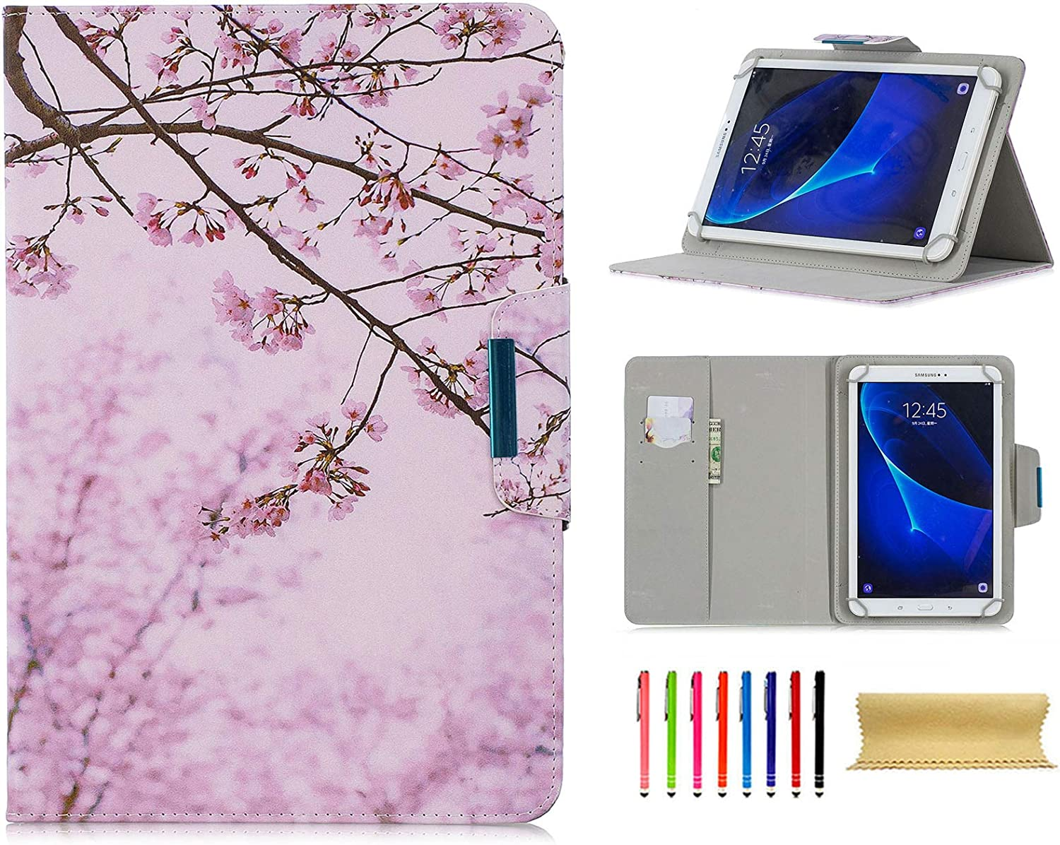 "Universal 7.5-8.5 Inch Tablet Case, Techcircle Ultra Slim Lightweight PU Leather Stand Folio Flip Wallet Protective Shell Case [Card Slots] [Magnetic Closure] for All 7.5""-8.5"" Tablet, Cherry Blossom"