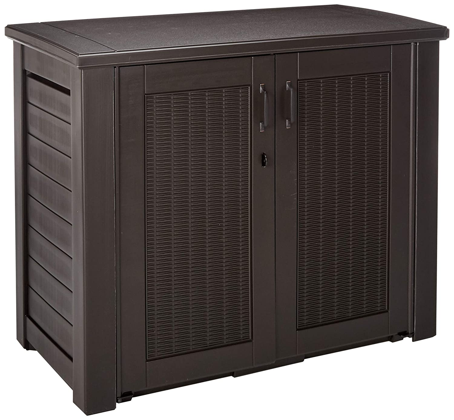 Rubbermaid Patio Chic Outdoor Storage Deck Box, Black Oak Rattan Wicker Basket Weave (1863391)
