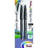 Pentel Arts Sign Pen, Black Ink, 2 Pack (S520BP2A)