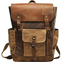 Vintage Waterproof Waxed Canvas Leather laptop computer Backpack College School Bookbag Travel Rucksack 15.6'' -Coffee