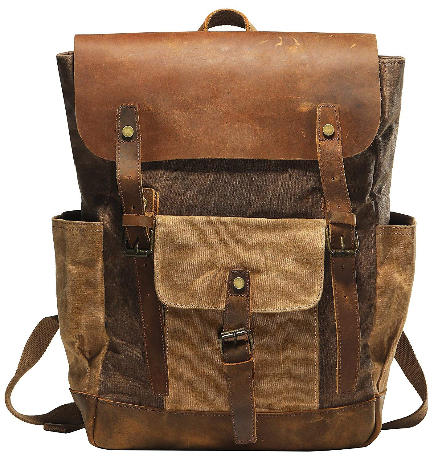 Vintage Canvas waxed Leather Backpack w/Laptop Storage (Large) High School, College, Travel Bag | Canvas and Cotton Craftsmanship | All-Purpose Rucksack for Men, Women, Kids by Roger William