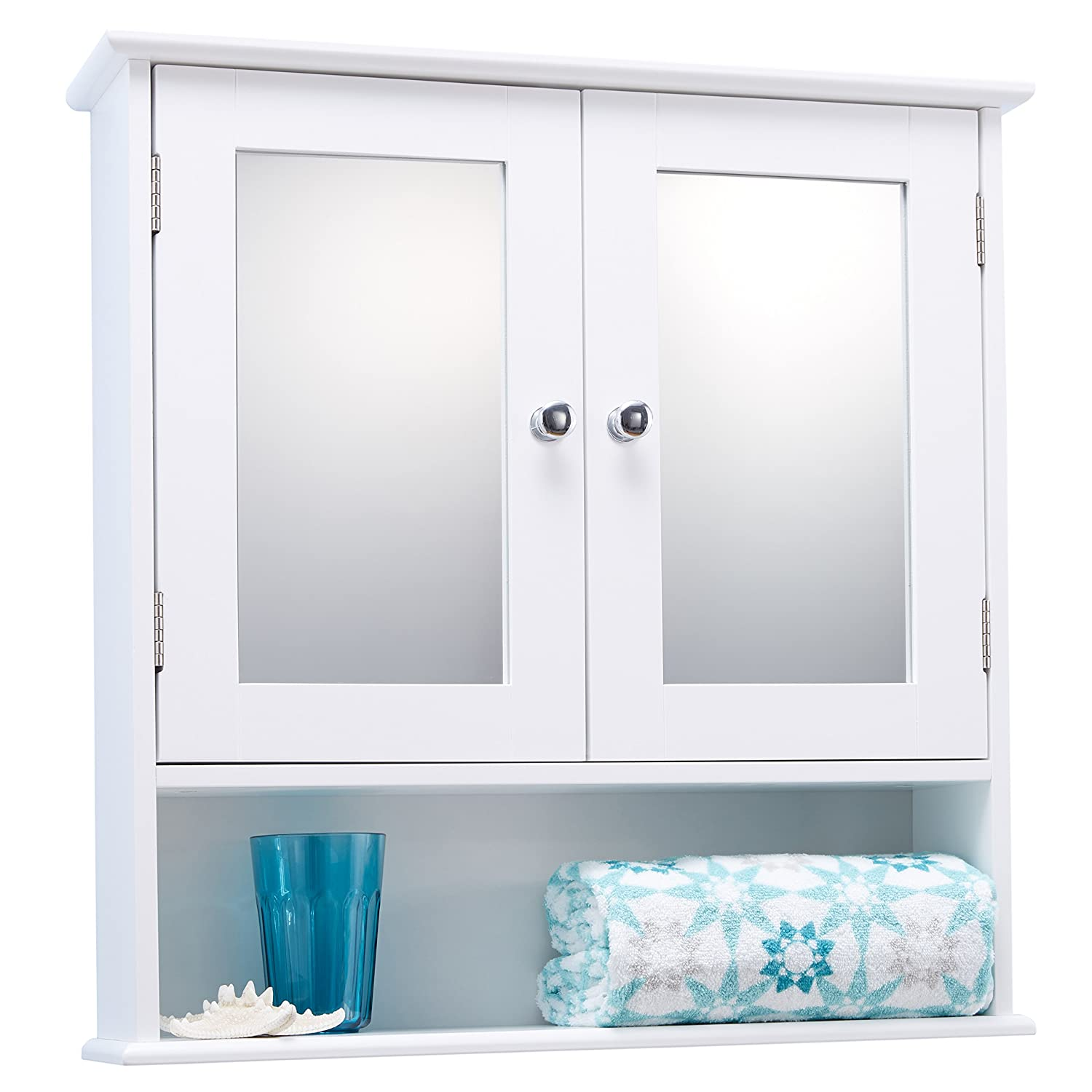 Double Door White Bathroom Mirror Cabinet Mirrored