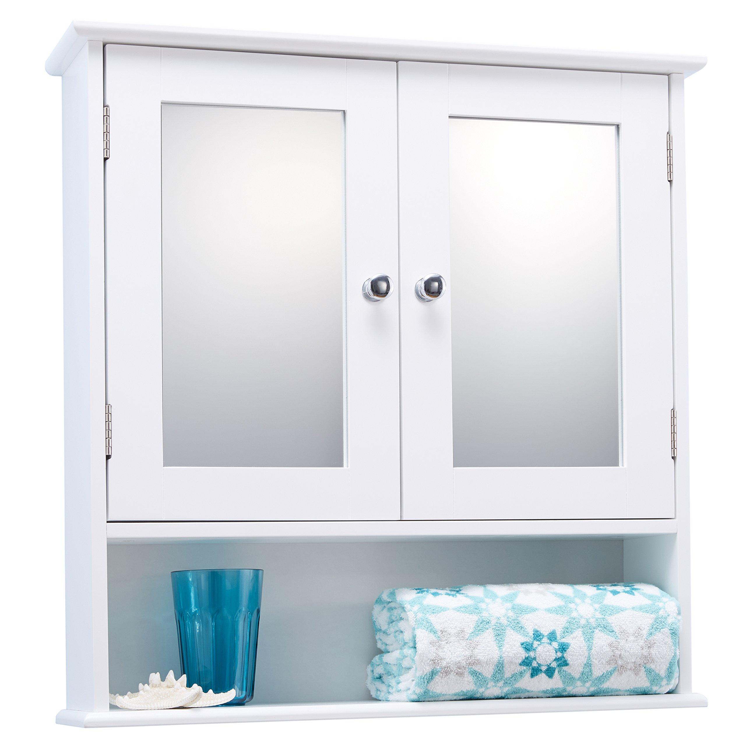 Double Door White Bathroom Mirror Cabinet Mirrored Bathroom Cabinet by Portland