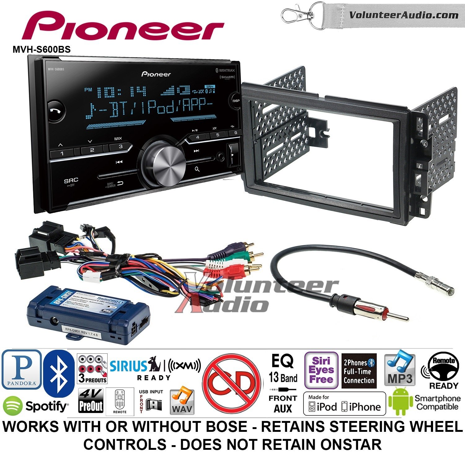 Pioneer MVH-S600BS Double Din Radio Install Kit with Bluetooth USB/AUX Fits 2007-2013 Silverado, Avalanche (Retains steering wheel controls)