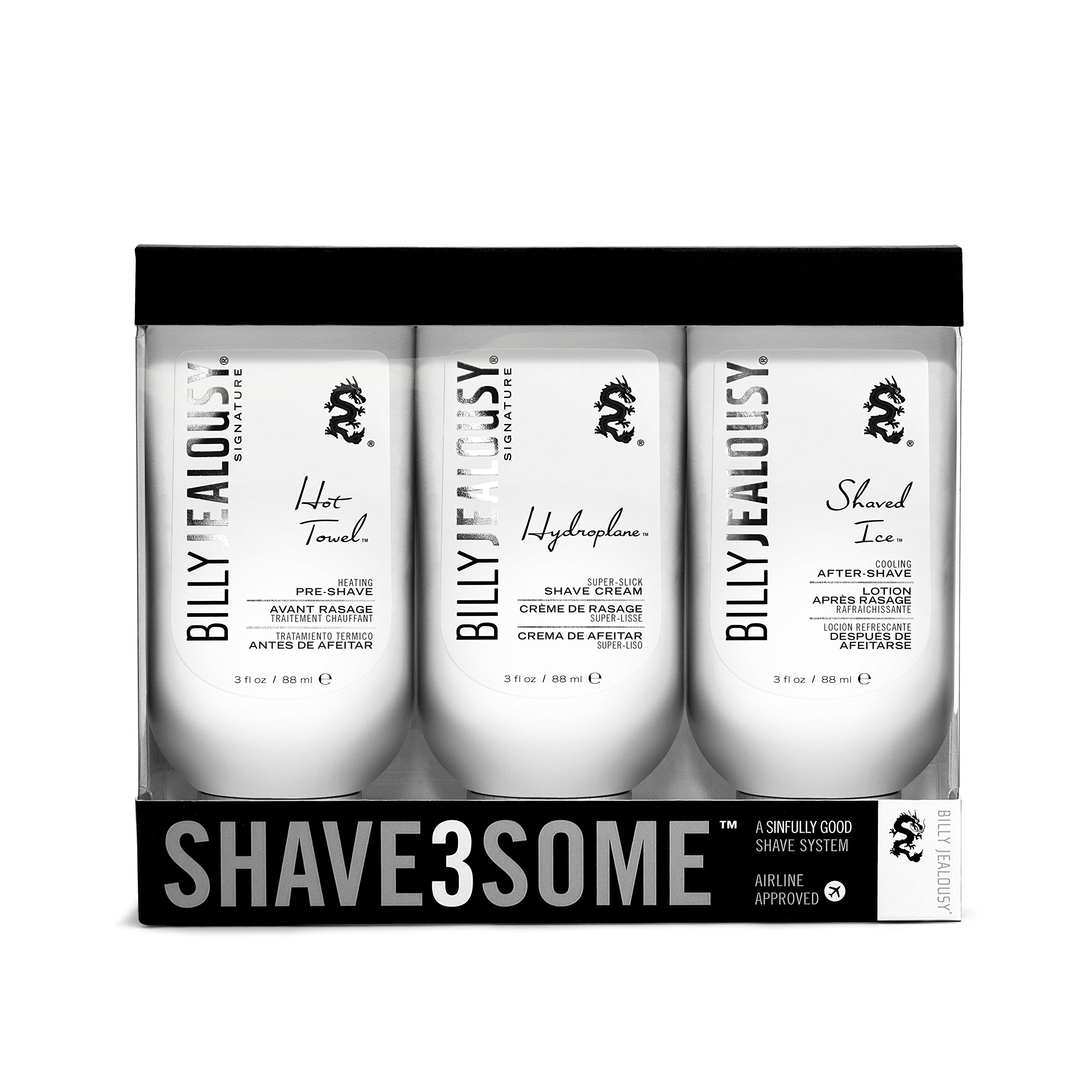Billy Jealous Shave3some Travel-Size Men's Pre-Shave, Shaving Cream & After Shave Trio by Billy Jealousy