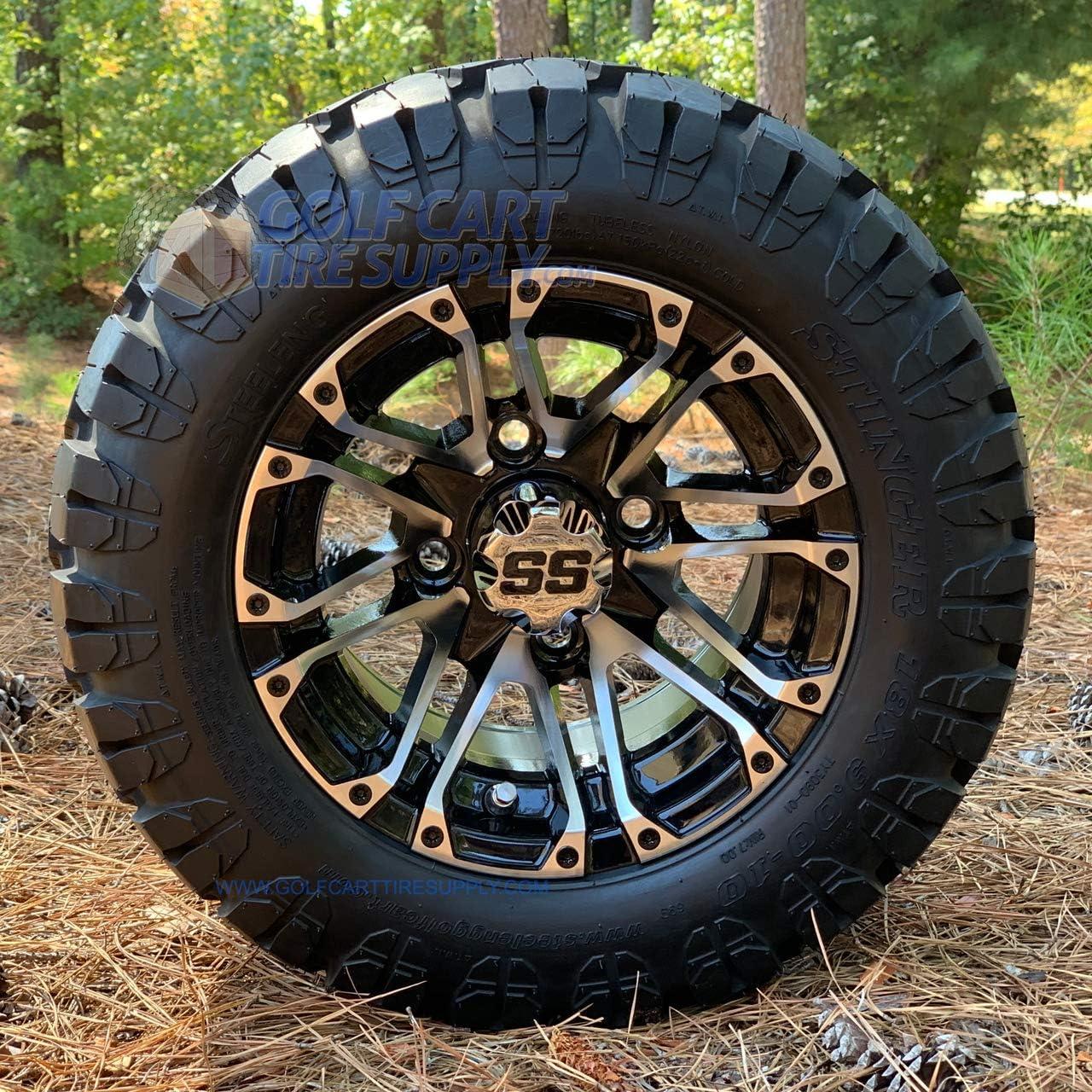 Amazon Com 10 Lancer Golf Cart Wheels And 18x9 10 Dot Stinger All Terrain Golf Cart Tires Combo Set Of 4 Fits All Carts Automotive